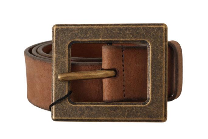 646246 Brown Leather Brushed Gold Buckle Belt.jpg