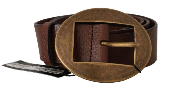 646293 Brown Leather Brushed Gold Oval Buckle Belt.jpg