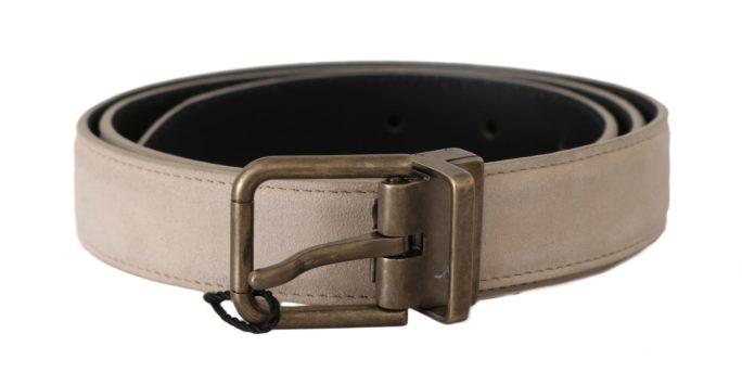 646307 Beige Suede Leather Gold Brushed Buckle Belt.jpg