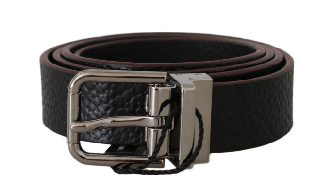 646366 Belt Black Leather Patterned Silver Buckle.jpg