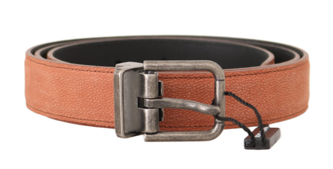 646397 Orange Leather Logo Brushed Buckle Belt.jpg