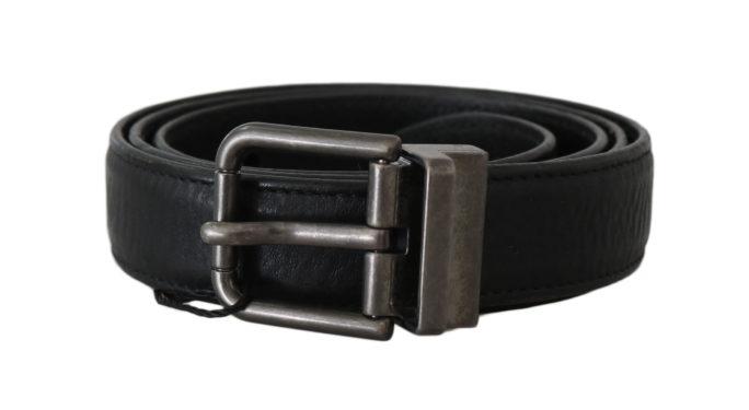 646411 Black Leather Brushed Metal Buckle Belt 4.jpg
