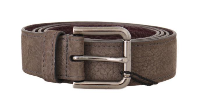 646428 Beige Deer Skin Silver Logo Buckle Belt.jpg