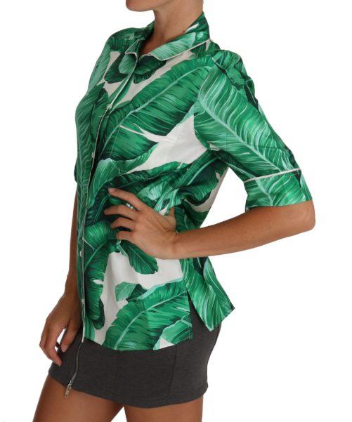 White Green Banana Silk Blouse Shirt, Fashion Brands Outlet