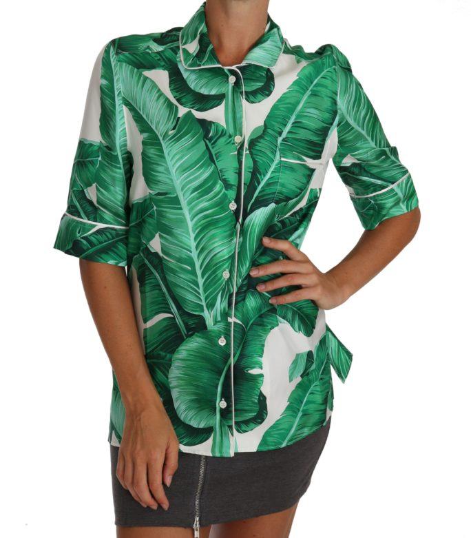 648242 White Green Banana Silk Blouse Shirt.jpg