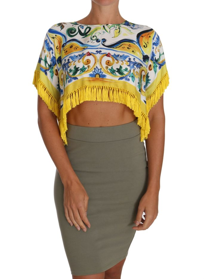 648550 Fringed Silk Scarf Floral Majolica Crop Top.jpg