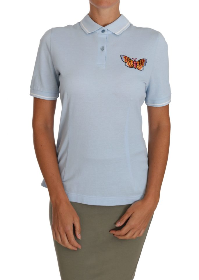 648571 Blue Cotton Butterfly Polo T Shirt Top.jpg