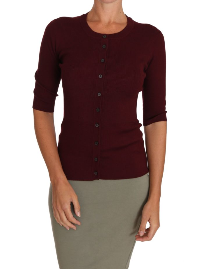 648586 Cardigan Ribbed Cashmere Silk Dark Red Sweater.jpg