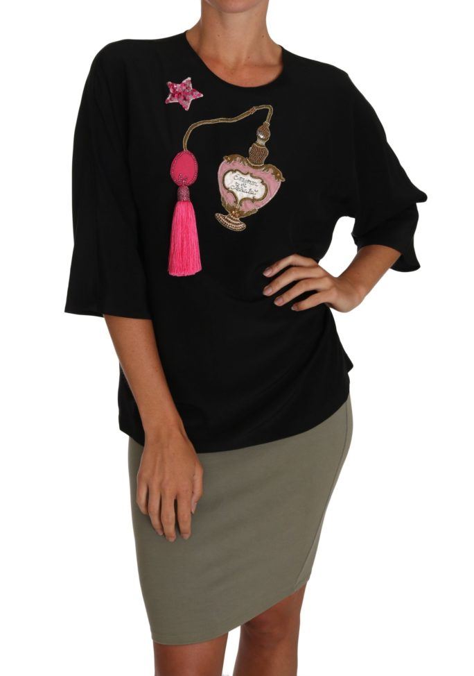 648619 Black Silk Fairy Tale Top Crystal Blouse T Shirt.jpg