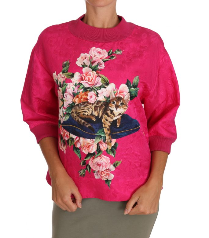 648833 Pink Bengal Cat Roses Brocade Sweater.jpg