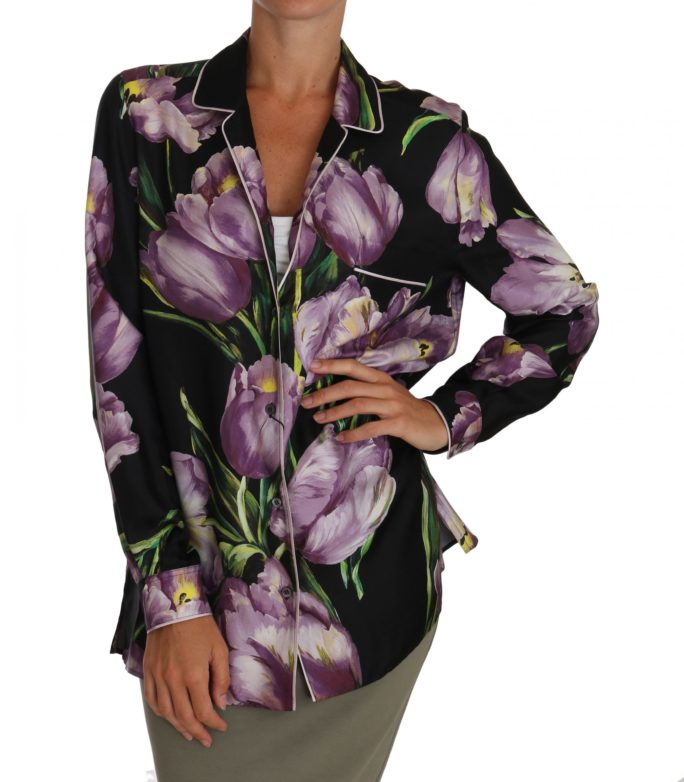 648904 Silk Purple Tulip Floral Shirt Black Blouse 5.jpg