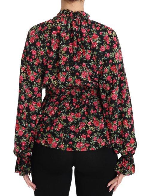 650877 Black Rose Print Floral Shirt Top Blouse 1.jpg