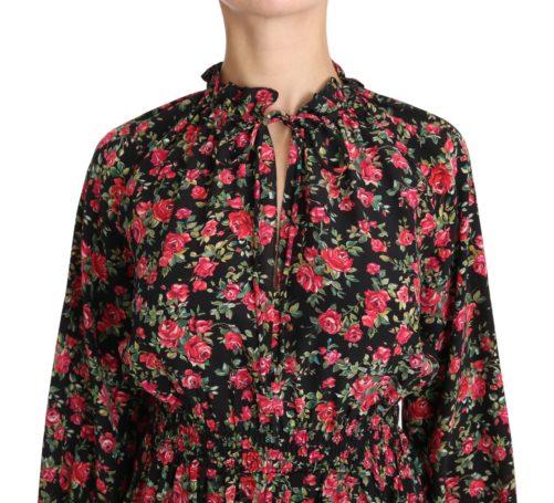 650877 Black Rose Print Floral Shirt Top Blouse 2.jpg