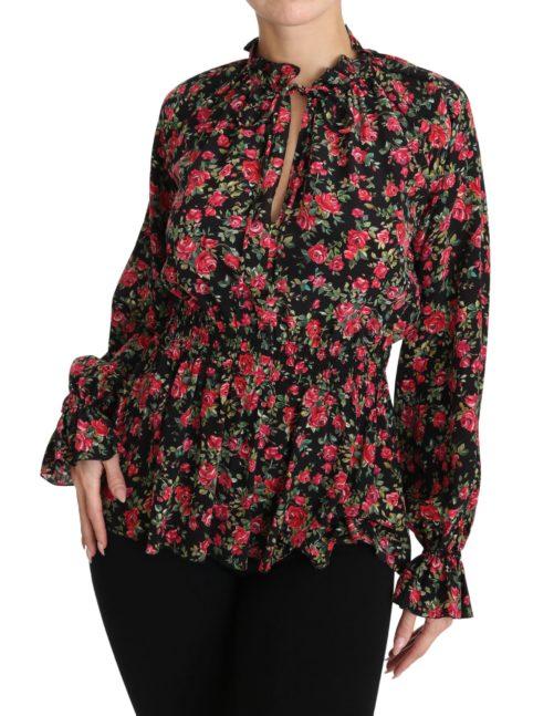 650877 Black Rose Print Floral Shirt Top Blouse 3.jpg