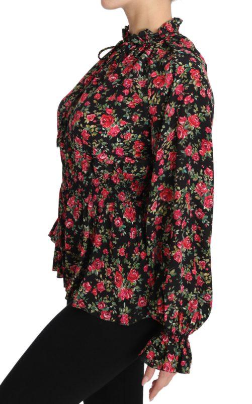 650877 Black Rose Print Floral Shirt Top Blouse 5.jpg