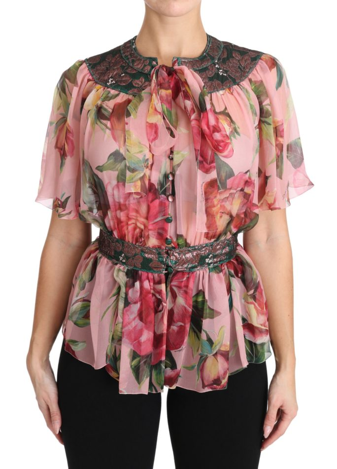 651010 Floral Print Silk Shirt With Pussy Bow Rose.jpg