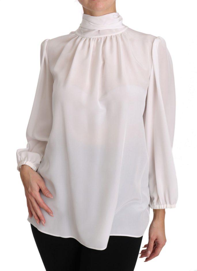 651078 White Silk Blouse Pussybow Solid Longsleeve Top 6.jpg