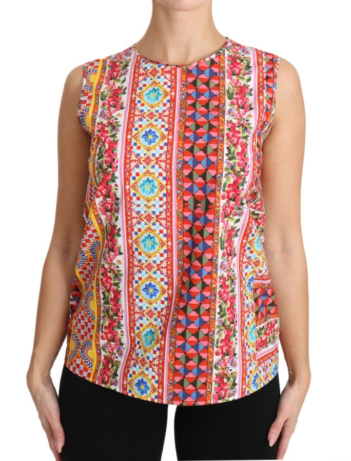 651109 Carretto Print Pure Cotton Tank Top Floral Blouse.jpg