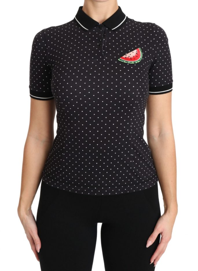 651133 Black Poloshirt Watermelon Embroidered Polka Dots Top.jpg