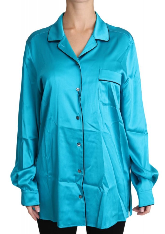 651258 Blue Shirt Stretch Top Longsleeve Pyjama Blouse 5.jpg