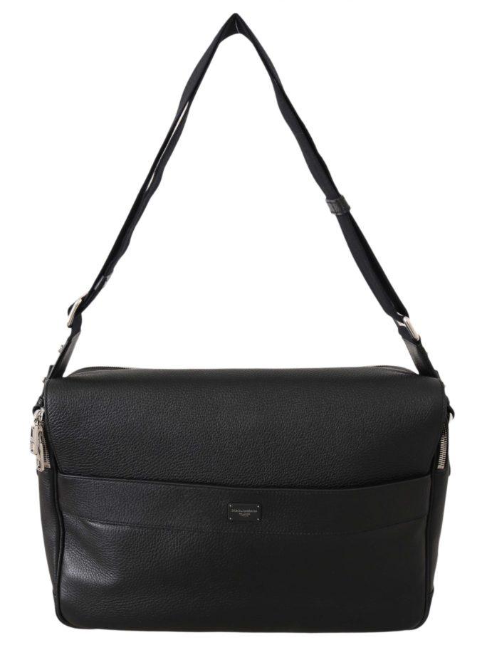 644985 Black Leather Cross Body Messenger Travel School Bag.jpg