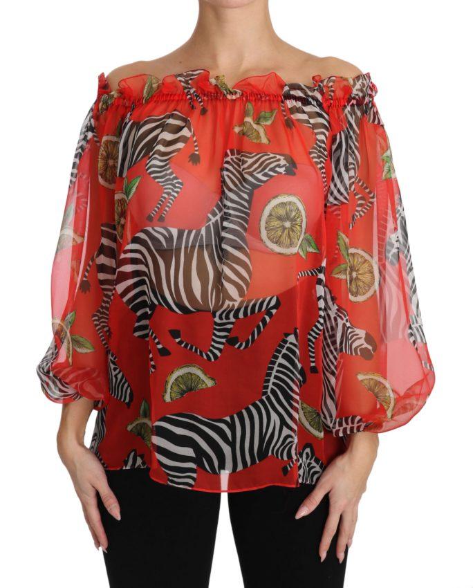 650771 Red Zebra Print Silk Off Shoulder Blouse Top.jpg