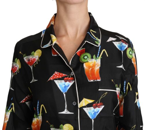 652454 Black Silk Longsleeve Cocktail Print Top Shirt 2.jpg