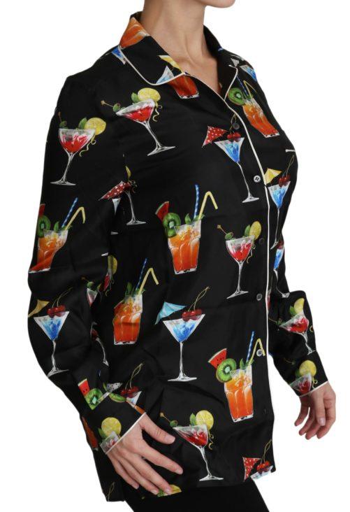 652454 Black Silk Longsleeve Cocktail Print Top Shirt 4.jpg