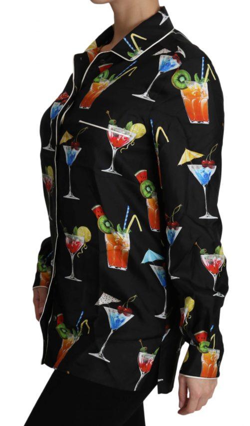 652454 Black Silk Longsleeve Cocktail Print Top Shirt 5.jpg