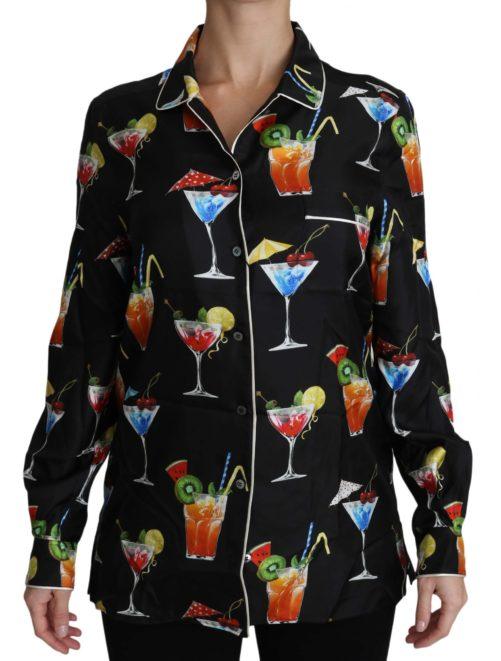 652454 Black Silk Longsleeve Cocktail Print Top Shirt.jpg