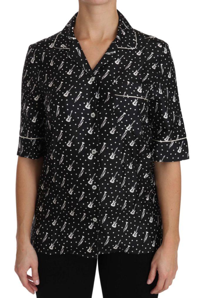 652620 Black Guitar Trumpet Print Silk Shirt Top.jpg