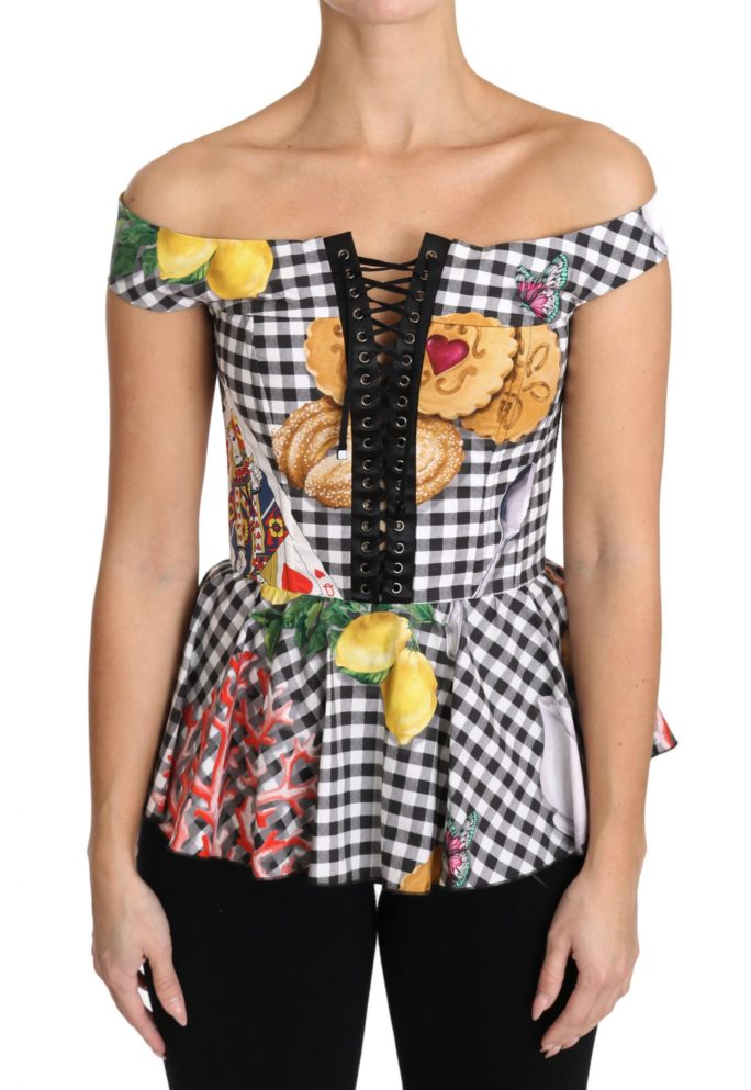 653138 Black And White Corset Blouse Sicily Lemon Check Top.jpg