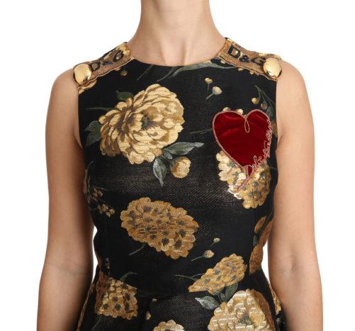653807 Brown Gold Floral Heart Jacquard Blouse 4.jpg