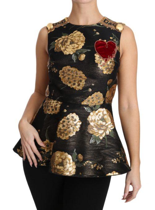 653807 Brown Gold Floral Heart Jacquard Blouse 5.jpg