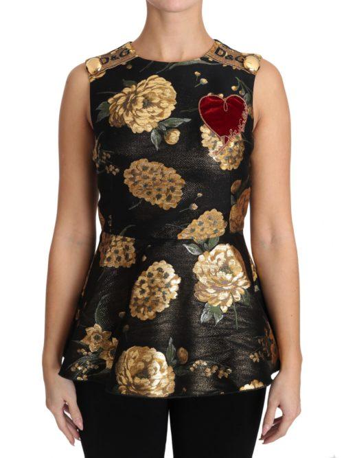 653807 Brown Gold Floral Heart Jacquard Blouse.jpg