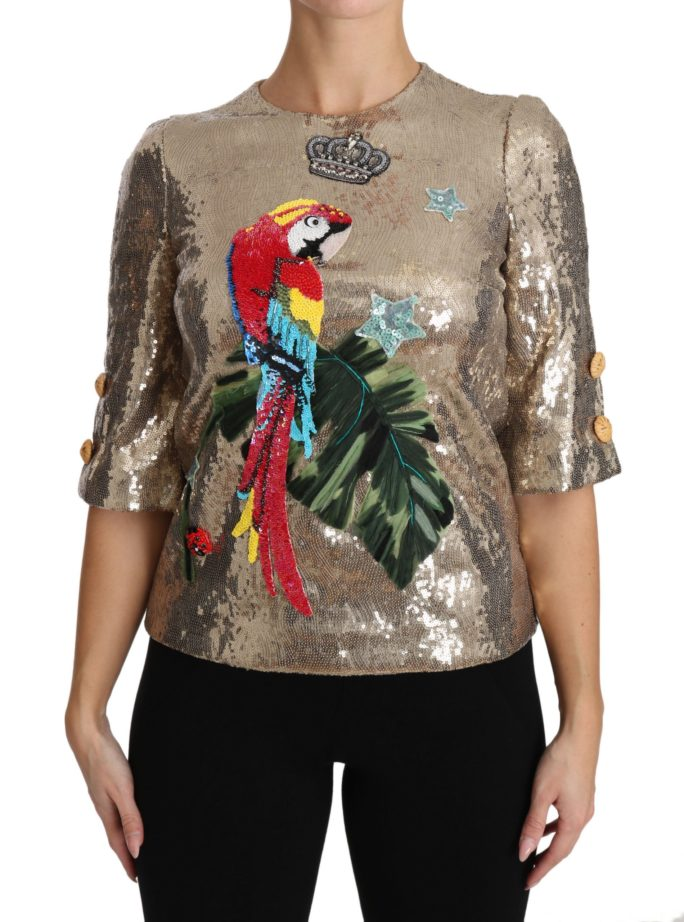 654059 Gold Sequined Parrot Crystal Blouse.jpg