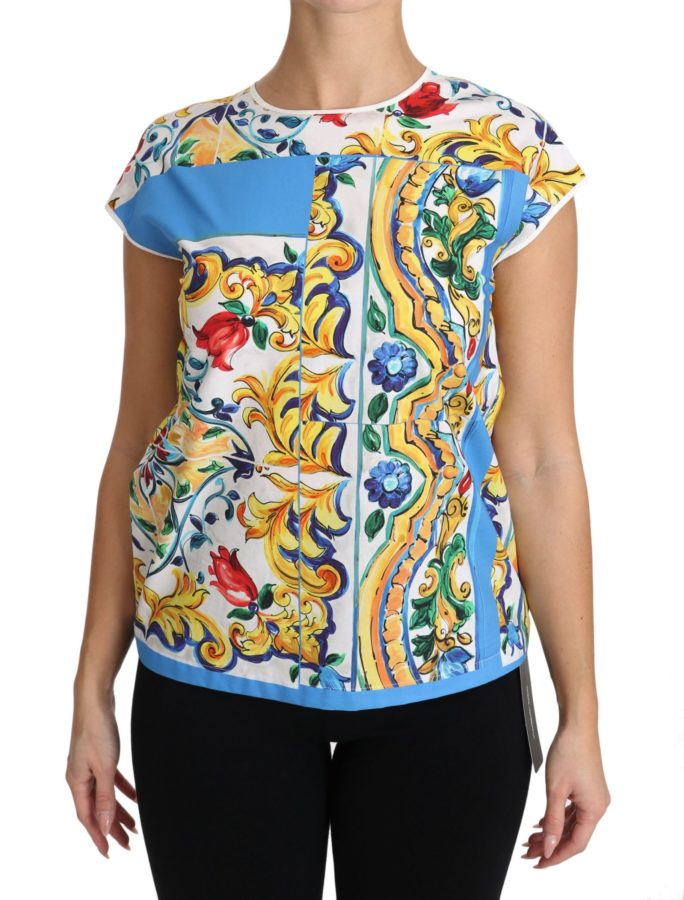 654204 Multicolor Cotton Majolica Floral T Shirt.jpg