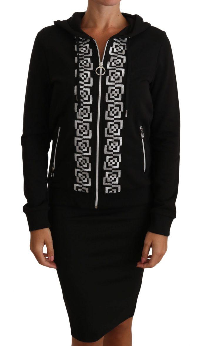 654437 Black Silver Logo Hoodie Zip Sweater.jpg