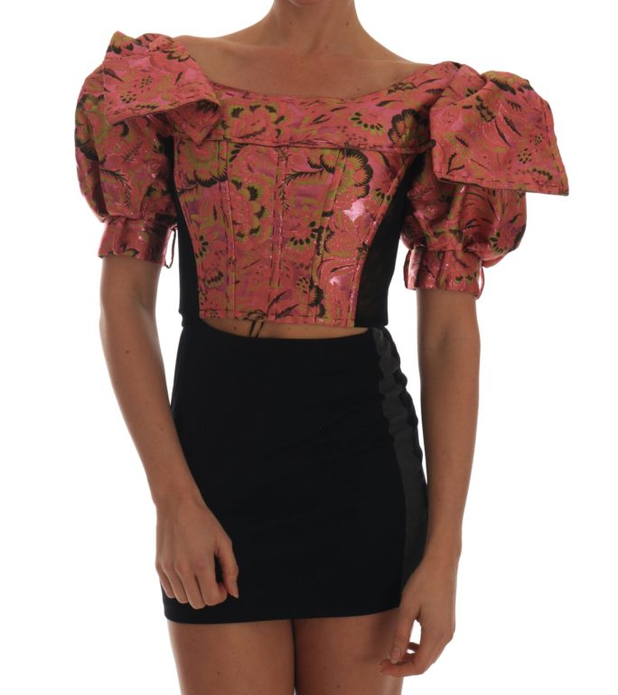 654627 Pink Puff Sleeve Brocade Cropped Top.jpg