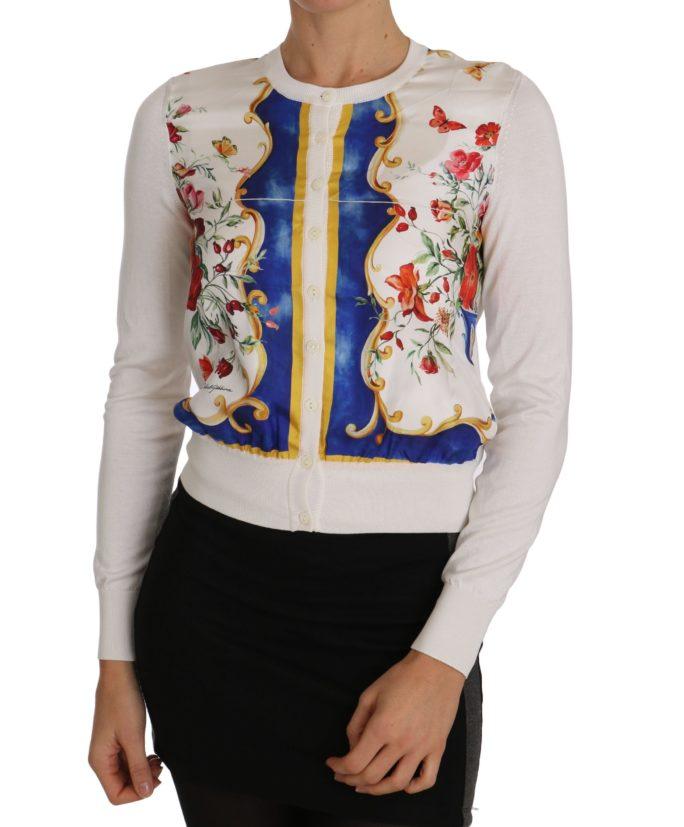 655865 Majolica Cardigan Floral White Silk Sweater.jpg