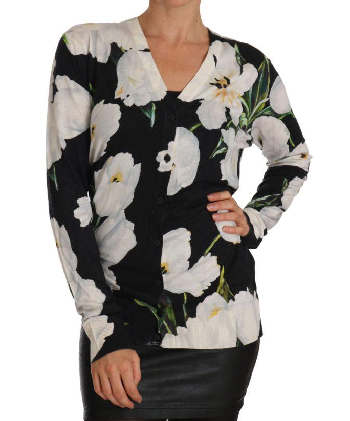 655971 Black Cashmere Silk Tulip Cardigan Sweater.jpg