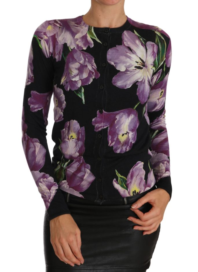 655995 Black Cashmere Silk Tulip Cardigan Sweater 2.jpg
