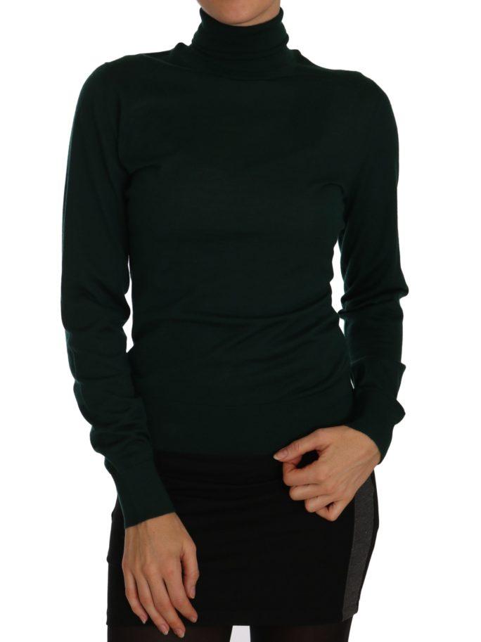 656195 Green Cashmere Turtleneck Polo Neck Sweater.jpg