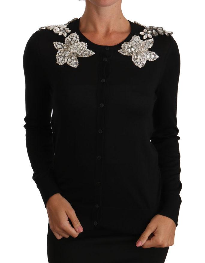656341 Black Crystal Embellished Shoulders Sweater.jpg