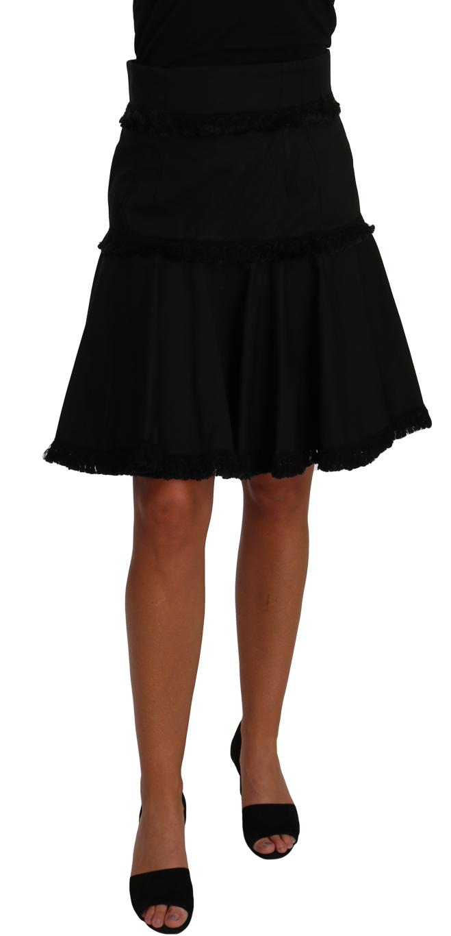 657058 A Line Black Fringes Pleated Skirt.jpg
