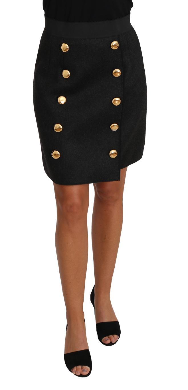 657132 Straight Gold Gray Wool A Line Button Skirt.jpg