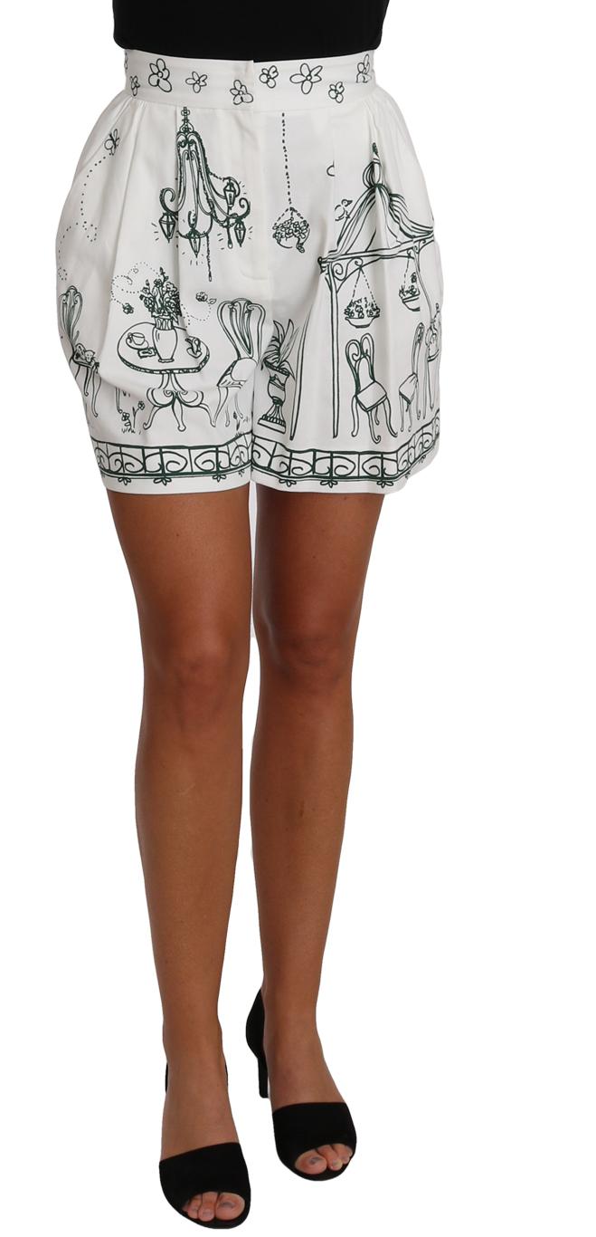 657169 White Green Sicily Motive Print Shorts 3.jpg