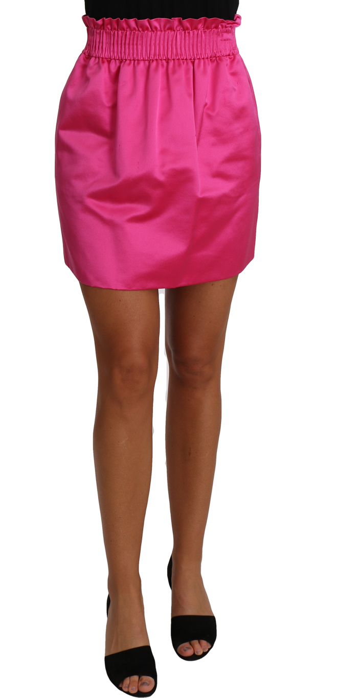 657238 Paperbag Mini Skirt Pink 100 Silk Short.jpg