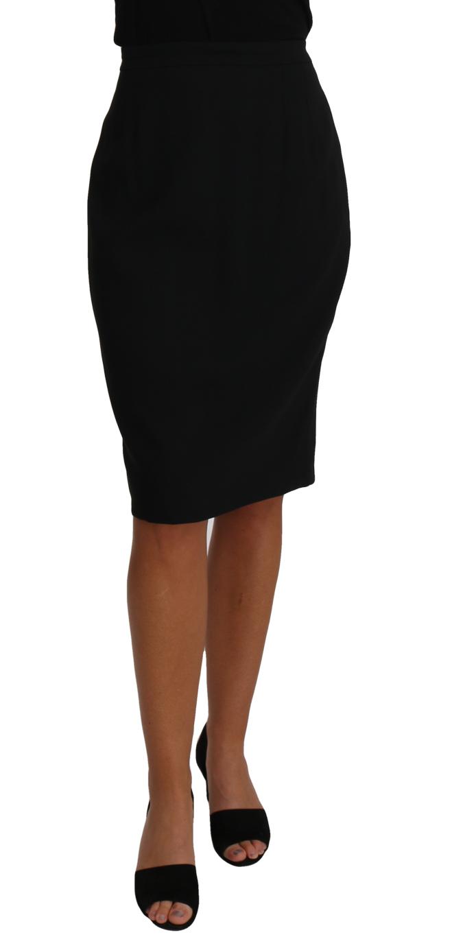 657270 Black Knee Length A Line Pencil Skirt.jpg