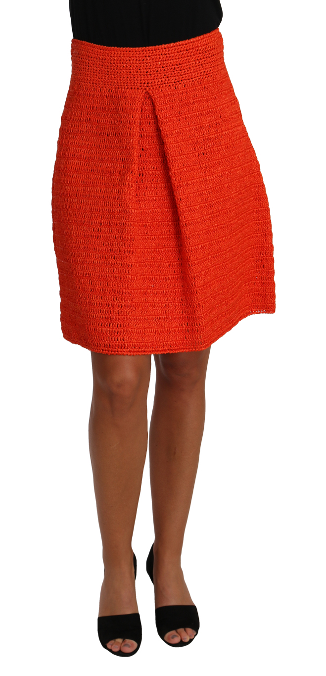 657286 Orange Knitted Raffia A Line Rayon Skirt.jpg